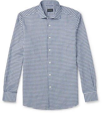 Ermenegildo Zegna Cutaway-Collar Gingham Slub Linen And Cotton-Blend Shirt