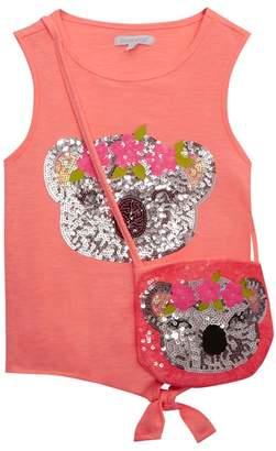 Bluezoo BLUE ZOO 'Girls' Coral Sequinned Koala T-Shirt And Bag Set