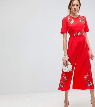 Asos Tall TALL Embroidered Tea Jumpsuit
