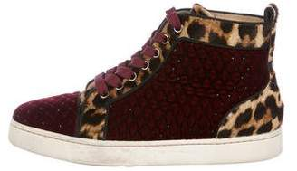 Christian Louboutin Quilted Velvet High-Top Sneakers