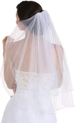 Venus Jewelry 2T 2 Tier Silver Lined Beaded Edge Bridal Wedding Veil - V168