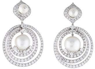 David Webb Platinum Diamond & Pearl Convertible Drop Clip-On Earrings