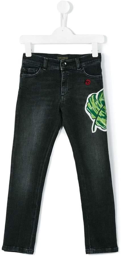 Jeans mit Palmblatt-Patch