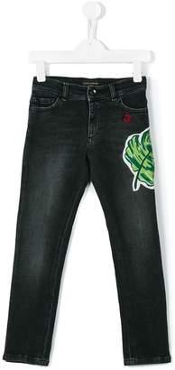 Dolce & Gabbana palm leaf appliqué jeans