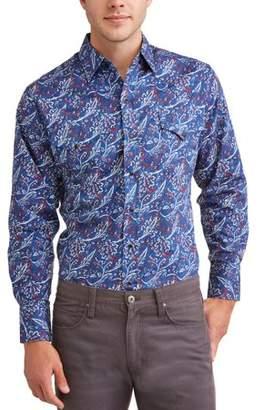 Plains Men's Long Sleeve Premium Cotton Large Paisley Print Shirt