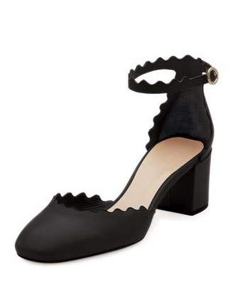 Chloé Lauren Scalloped 40mm Pumps, Black
