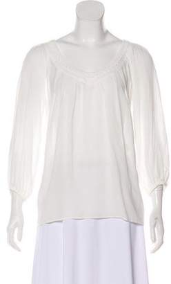 Diane von Furstenberg Pleated V-Neck Blouse