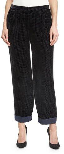 Armani CollezioniArmani Collezioni Perforated Velvet Pajama Pants, Black