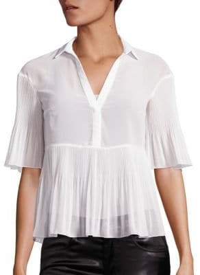 Giamba Georgette Plisse Short-Sleeve Blouse