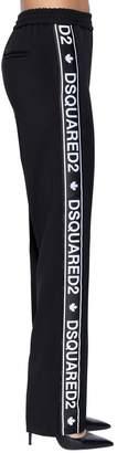 DSQUARED2 Logo Bands Wool Blend Cady Track Pants