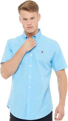 U.S. Polo Assn. Mens Garret Short Sleeve Shirt Ethereal Blue