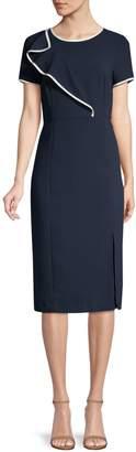 Donna Karan Textured Piping Ruffle Knit Sheath Dress