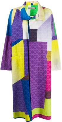 Issey Miyake oversized color-block coat