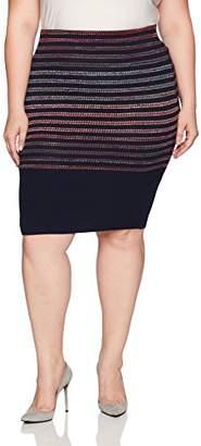 Rachel Roy Women's Plus Size Spac Dyed Stripe Skirt