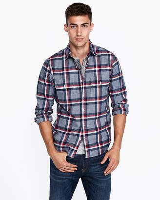 Express Slim Plaid Two Pocket Cotton Shirt