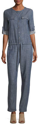 Trina Turk Crosshatch Chambray Button-Front Jumpsuit