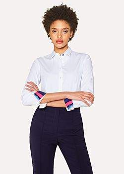 Paul Smith Women's White Stretch-Cotton Shirt With 'Cycle Stripe' Cuff Lining