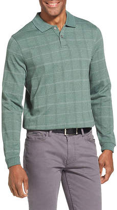 Van Heusen Long Sleeve Windowpane Knit Polo Shirt