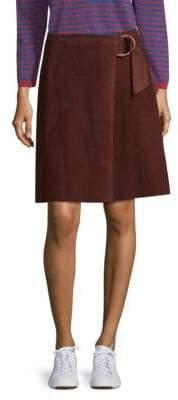Max Mara Glorizia Faux Suede Wrap Skirt