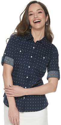 Croft & Barrow Petite Button Front Roll-Tab Shirt