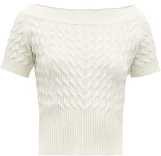 Alexander McQueen Off The Shoulder Cable Knit Wool Blend Sweater - Womens - Ivory