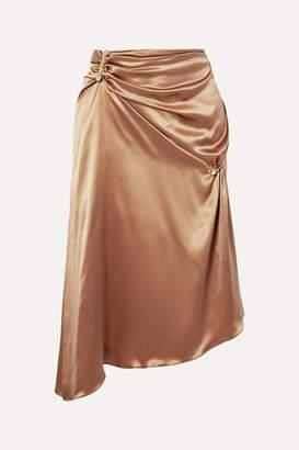 Versace Embellished Asymmetric Silk-charmeuse Skirt - Tan