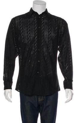 Gianni Versace Eyelet Button-Up Shirt