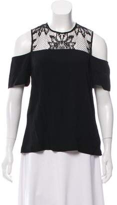 A.L.C. Lace Short Sleeve Shoulder Cutout Top