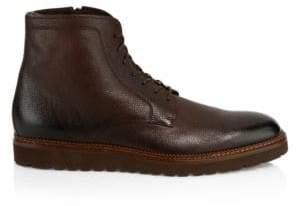 HUGO BOSS Men's Charm Zip Shearling-Lined Leather Ankle Boots - Dark Brown - Size 8 UK (9 US)