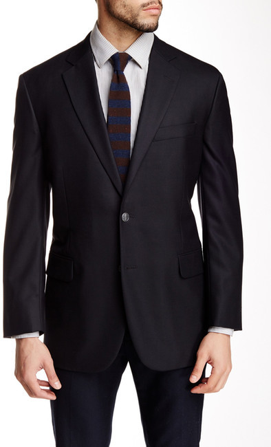 Brooks Brothers  Brooks Brothers Navy Solid Two Button Notch Lapel Wool Blazer