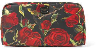 Dolce & Gabbana Floral-print Shell Cosmestics Case - Black