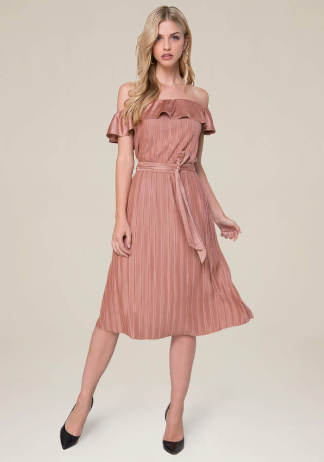 Pleated Faux Suede Dress
