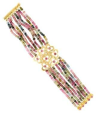 18K Multicolor Tourmaline Bead Bracelet pink 18K Multicolor Tourmaline Bead Bracelet