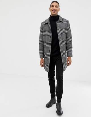 Burton Menswear wool coat in black dogtooth