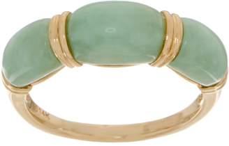 Carved Jade Band Ring 14K Gold