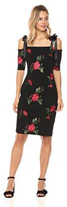 Nicole Miller New York Women's Elbow Sleeve Embroidered Midi with Satin Ribbon Tie Straps