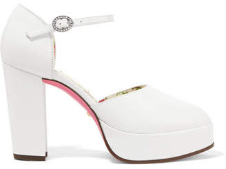 Gucci Agon Embellished Platform Pumps - White