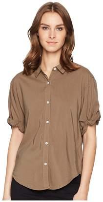 Splendid Cotton Voile Short Sleeve Boyfriend Shirt Women's Clothing