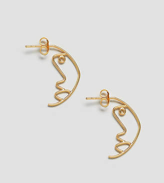 Asos Gold Plated Sterling Silver Face Profile Earrings