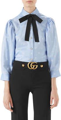 Gucci Bee-Jacquard Oxford Cotton Shirt