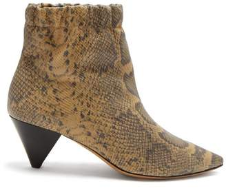 Isabel Marant Leffie Snake Effect Leather Ankle Boots - Womens - Cream Multi