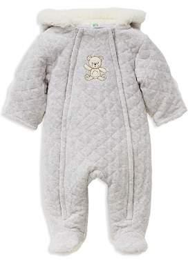 Little Me Unisex Heathered Faux-Fur Hooded Teddy Bear Footie Jacket - Baby