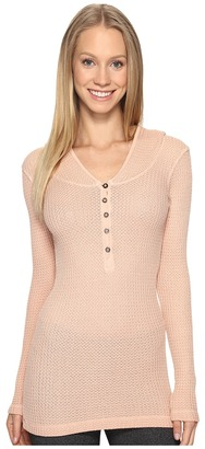 Hard Tail - Long Sleeve Hooded Scoop Henley Women's Clothing $98 thestylecure.com