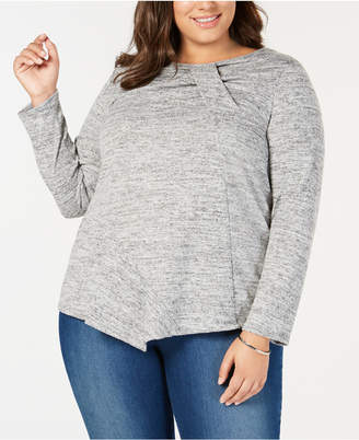 NY Collection Plus Size Twist-Front Asymmetrical Top