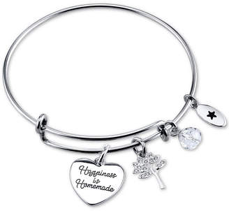 """Unwritten Happiness is Homemade"""" Charm Bangle Bracelet in Stainless Steel"""