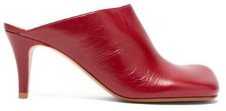 Bottega Veneta Exaggerated Toe Leather Mules - Womens - Burgundy