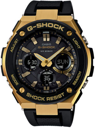 G-Shock Men's Analog-Digital Black and Gold Black Silicone Strap Watch 59x52 GSTS100G-1A $280 thestylecure.com