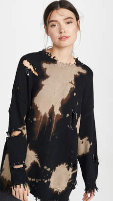 R 13 Bleached Distressed Crew Neck Sweater