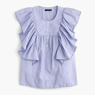 J.Crew Petite ruffle-front shirt in end-on-end cotton