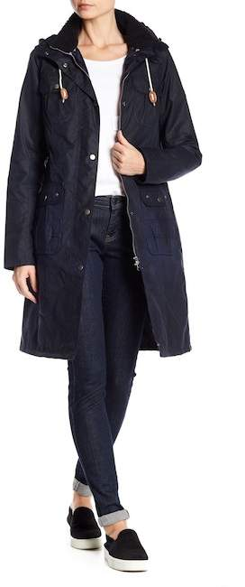 Barbour Winterton Leather Trimmed Waxed Cotton Jacket